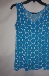 Cha Cha Vente Turquoise Dots Top Sz L